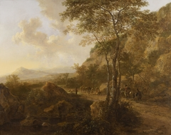 Landscape with Three Tall Oaks and Travellers