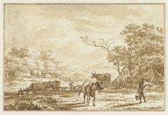 Landschap met vee en boer met emmer