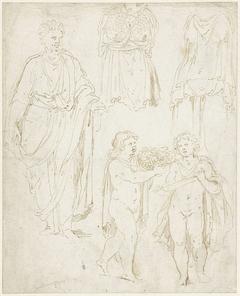 Man en-face, twee naakte kinderen en een Minervabuste