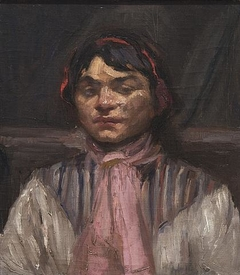 Maori Woman with pink scarf