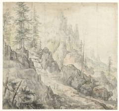 Mountain Landscape with a Waterfall