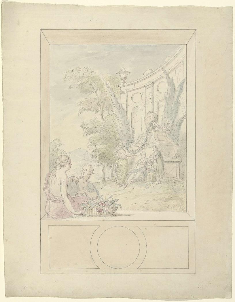 Ontwerp voor een kamerbeschildering met vrouwen zittend in een nis en staande bij een tombe