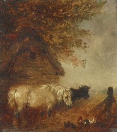 Pony and Cow by a Shed
