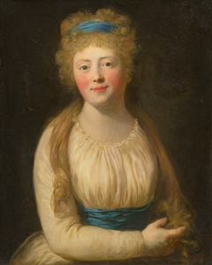 Portrait of a Woman in Pale Clothes with a Blue Ribbon in her Hair