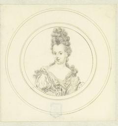 Portret van een dame met een hoog kapsel