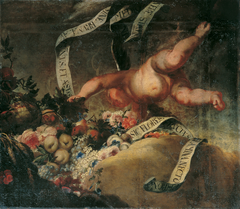 Putto mit Blumen, Früchten und Spruchband