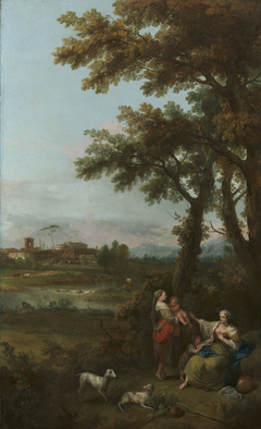 River Landscape with a Woman Giving another Woman a Child to Suckle