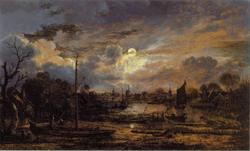 River Landscape with Moonshine