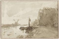 Rivierlandschap te Schiedam, met molen op de achtergrond
