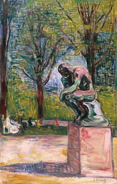"""Rodin's """"Le Penseur"""" in Dr. Linde's Garden"""