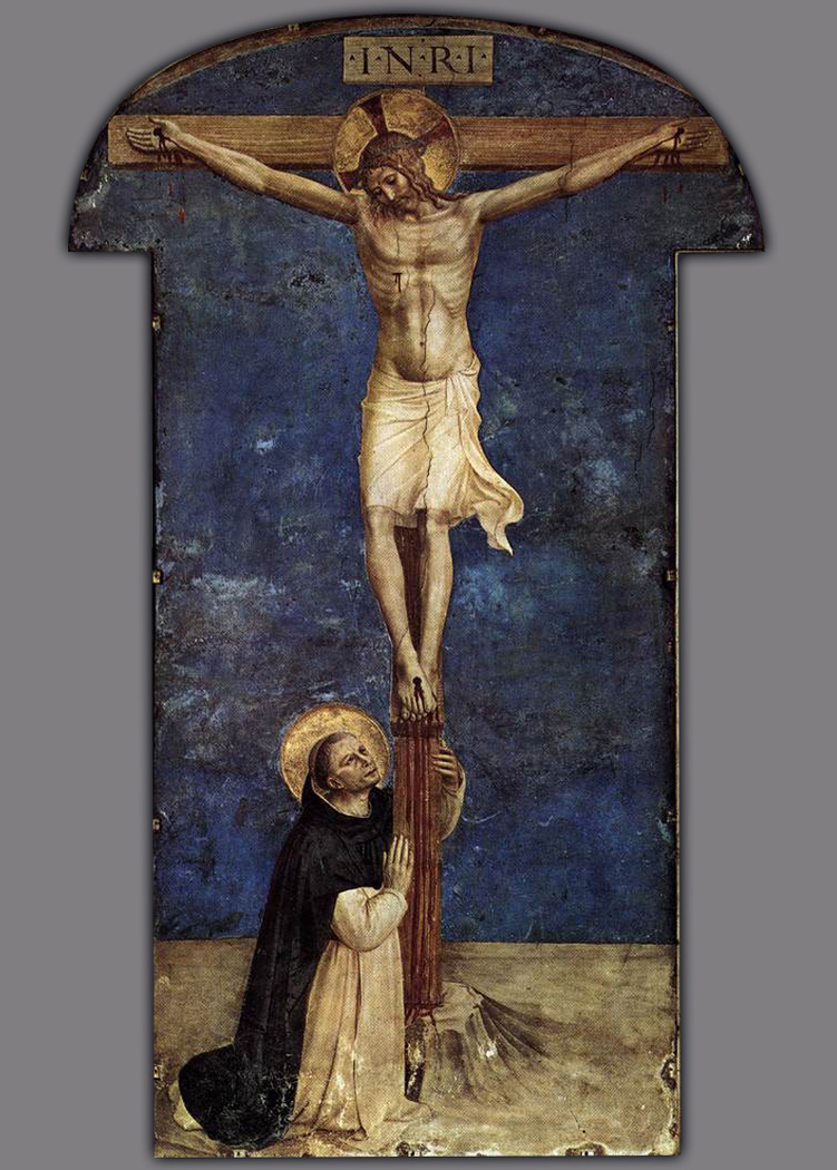 Saint Dominic adoring the Crucifixion
