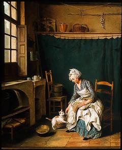 Servant Girl Plucking a Chicken