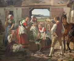 Sjællandske høstpiger ved en brønd