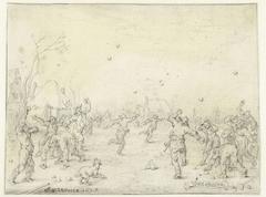 Sneeuwballen gooiende mannen en jongens