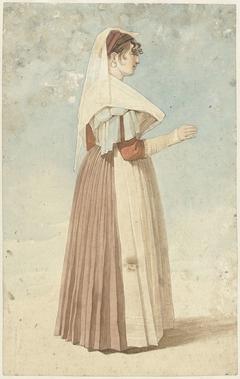 Staande vrouw in Italiaanse klederdracht, naar rechts
