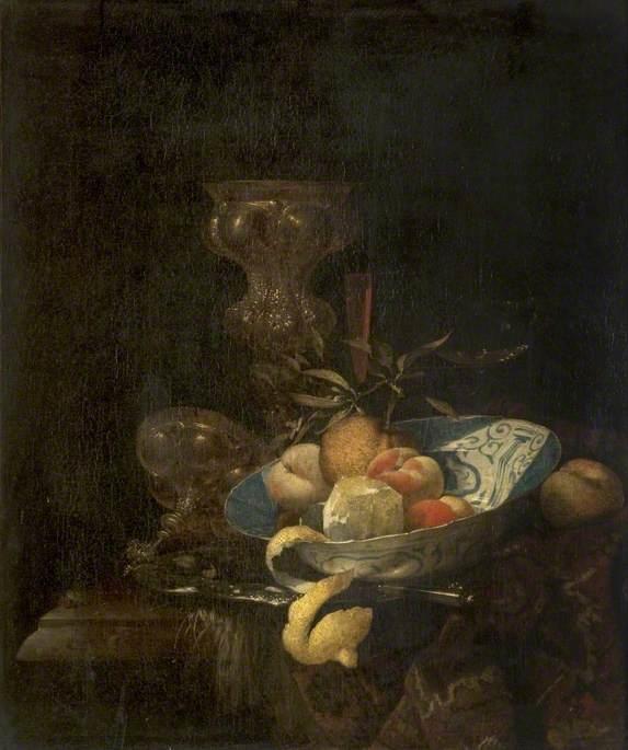 Still Life of Silver-Gilt Goblet, Porcelain Bowl, Glassware and Peeled Orange