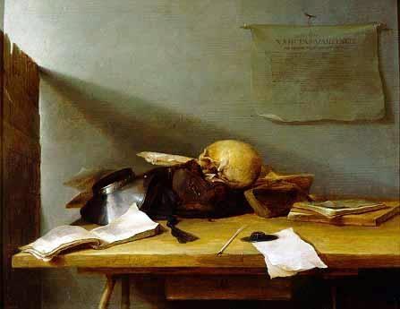 Still-life with Books and Skull (Vanitas)