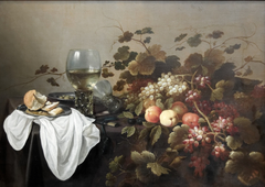 Still life with fruits and Roemer
