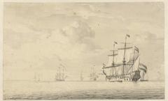 Stille zee met enkele oorlogsschepen