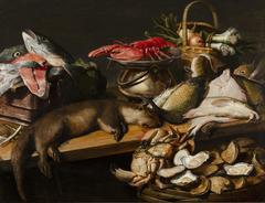 Stilleven met vis, groenten en een bever