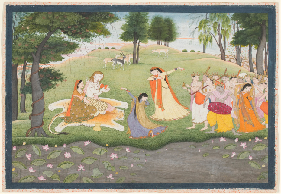 The Gods Sing and Dance for Shiva and Parvati