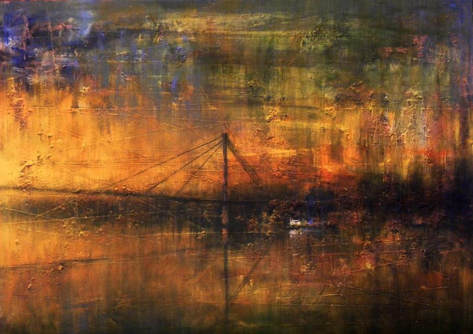 "The impression of the pedestrian bridge on the river ""Sava"""