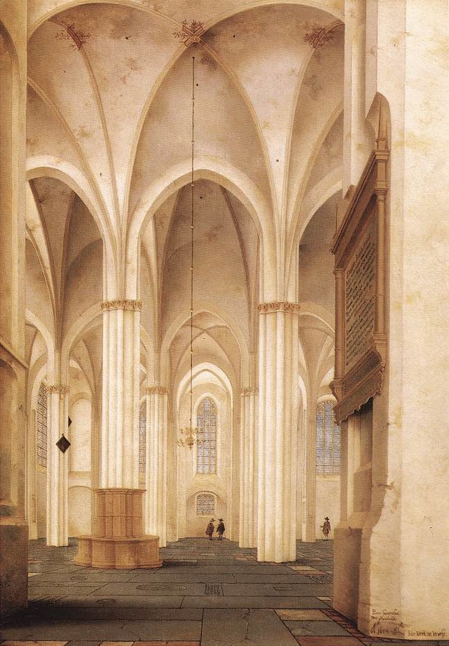 The Nave of the Buurkerk in Utrecht from South to North