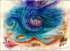 THE NORTH WIND IS BLOWING HARD, WITH HIS «BOUROUDA» (SEASHELL) IN THE AEGEAN SEA. – ΜΕ ΤΗΝ ΜΠΟΥΡΟΥΔΑ ΤΟΥ Ο ΒΟΡΙΑΣ ΦΥΣΟΜΑΝΑΕΙ ΣΤΟ ΑΙΓΑΙΟ.