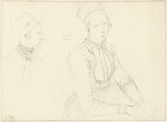 Twee schetsen naar het kostuum van een Marker vrouw