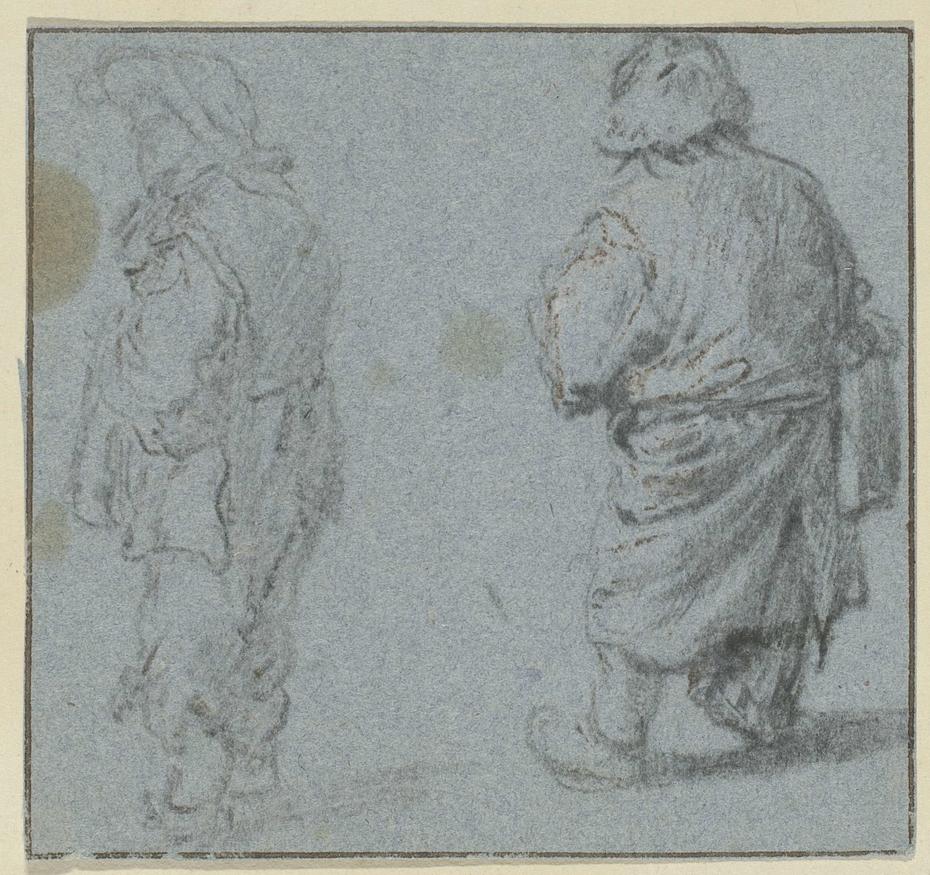 Twee staande jongens, de eerste van opzij, de tweede op de rug gezien