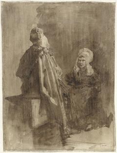 Twee vissersvrouwen in gesprek over een onderdeur