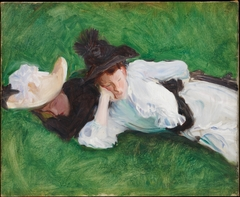 Two Girls on a Lawn