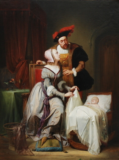 Emperor Charles and His Mistress Johanna Van der Gheynst at the Cradle of their Daughter Margaret