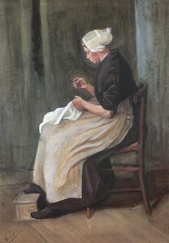 Young Scheveningen Woman Seatded: Facing Left