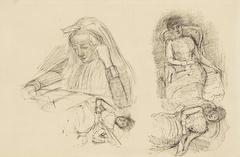 Vier studies van vrouwen, zittend en lezend