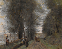 Ville d'Avray, Woodland Path Bordering the Pond