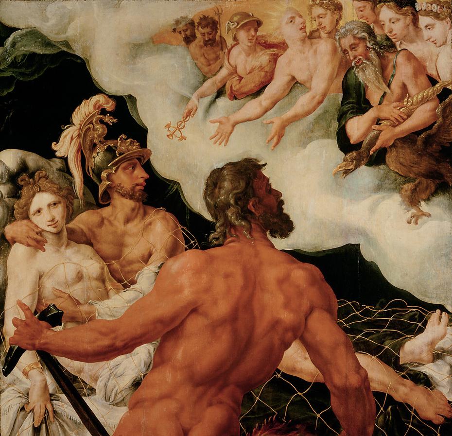 Vulkan zeigt den Göttern die in seinem Netz gefangenen Venus und Mars