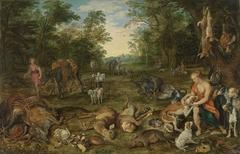 Waldlandschaft mit Nymphen und Jagdbeute und Rubens-Werkstatt