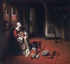 Woman Plucking a Duck