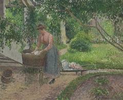 Woman Washing Clothes in the Garden, Éragny