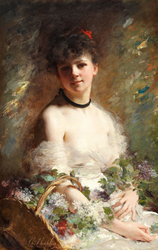 Young Woman with Flower Basket