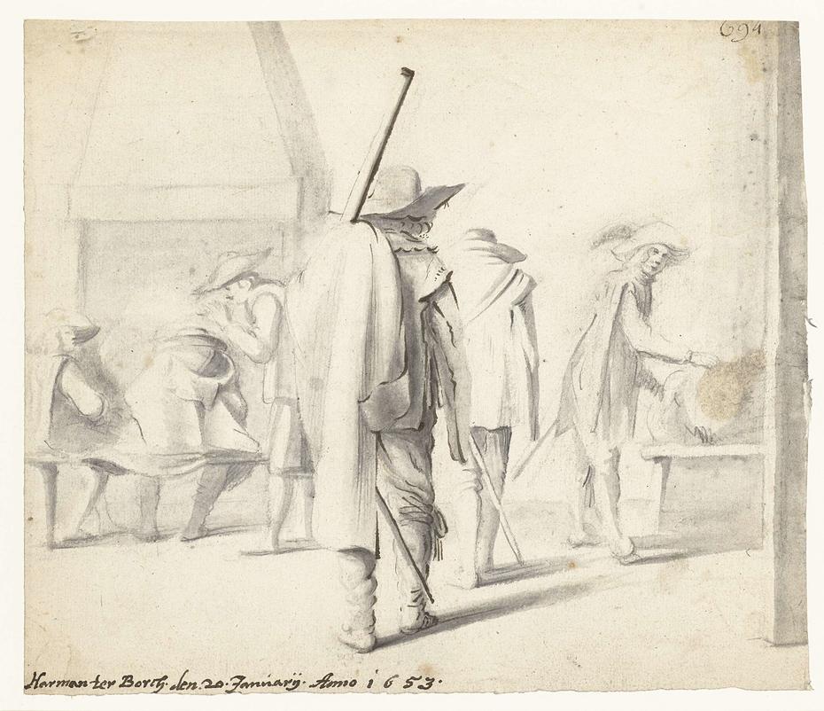Zes soldaten in een interieur
