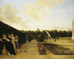 A formal Garden: three Ladies surprised by a Gentleman