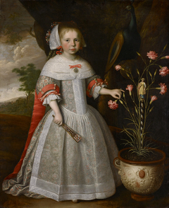A Four-year-old Girl with a Pot of Carnations