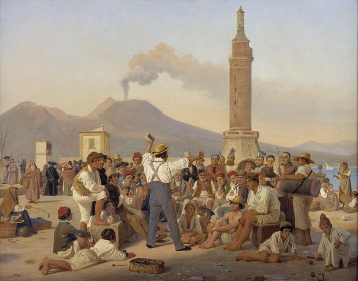"""A Reciter of """"Orlando Furioso"""" at the Molo, Naples"""