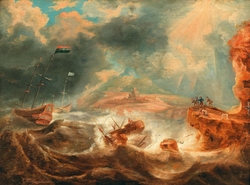 A shipwreck off a rocky coast