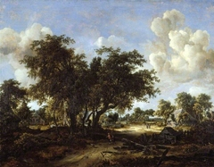 A wooded landscape with cottages