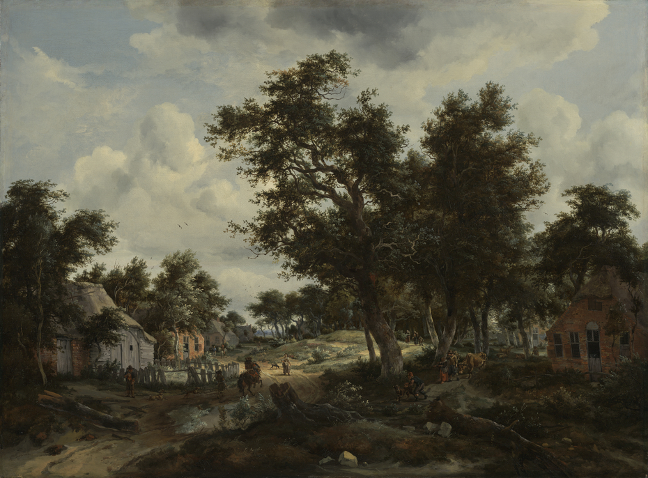 A Wooded Landscape with Travelers on a Path through a Hamlet