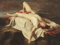Academic Study of a Male Nude lying on a Shroud on Rocks
