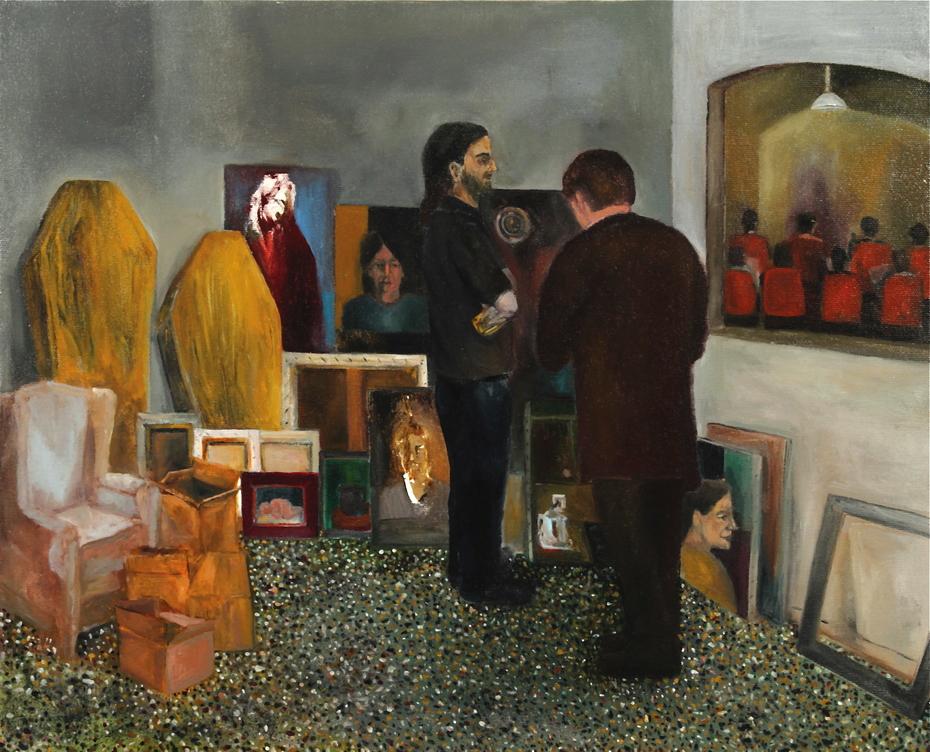 An odd negotiation                                 (Oil on canvas, 45 x 55 cm)